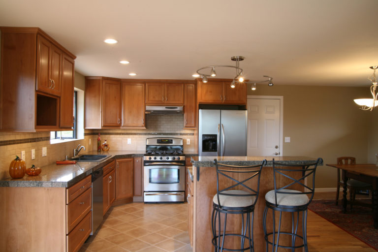 Interior kitchen cabinets in a home.